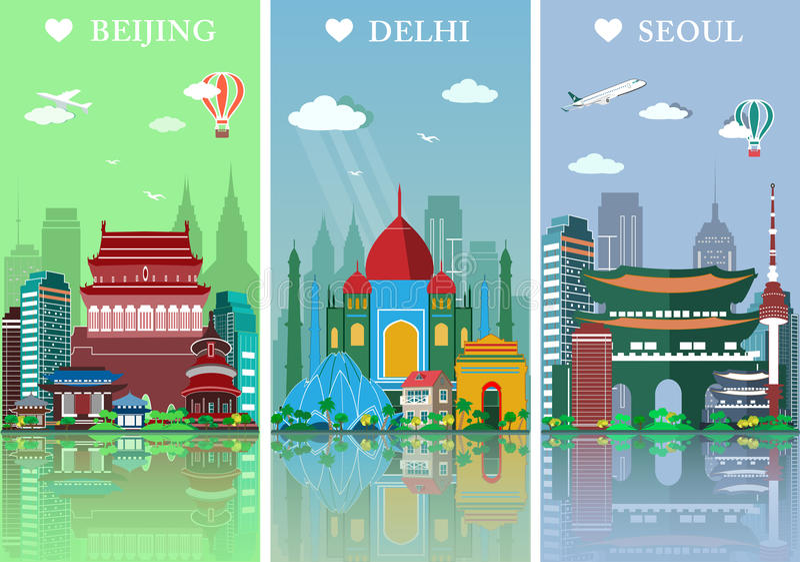 Miasto linie horyzontu ustawiać Mieszkanie kształtuje teren wektorową ilustrację Pekin, Delhi i Seul miast linii horyzontu projek ilustracja wektor