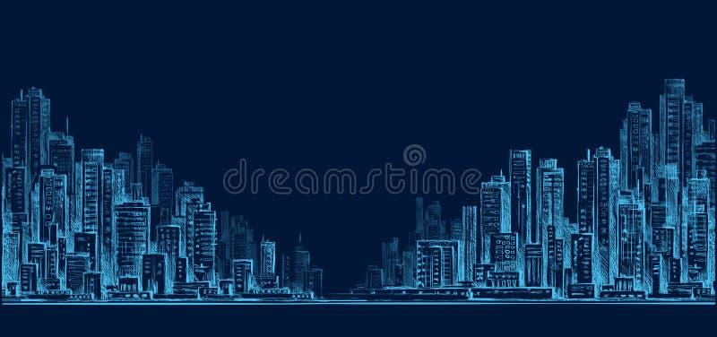 Miasto linii horyzontu panorama przy nocą, ręka rysujący pejzaż miejski, rysunkowa architektury ilustracja royalty ilustracja