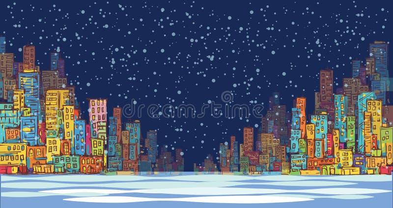Miasto linii horyzontu panorama, zima śniegu krajobraz przy nocą, ręka rysujący pejzaż miejski, wektorowa rysunkowa architektury  ilustracji