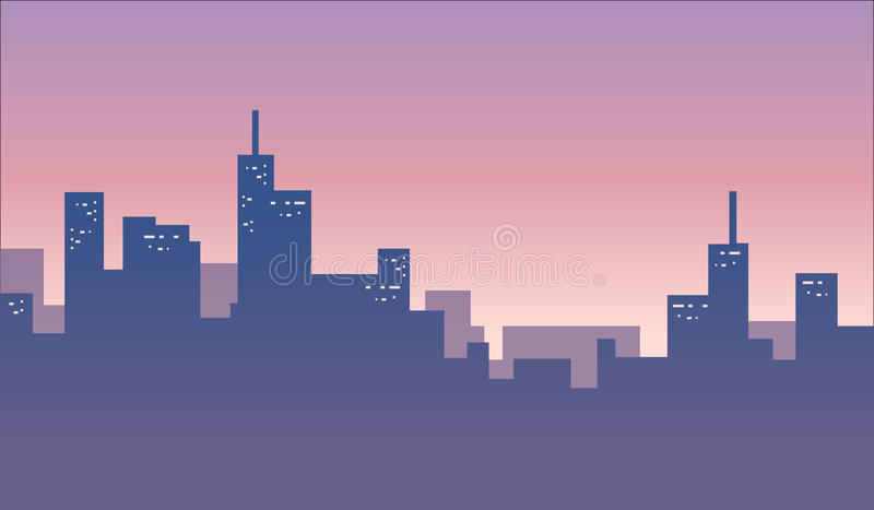 Miasto linii horyzontu tła sztandar royalty ilustracja