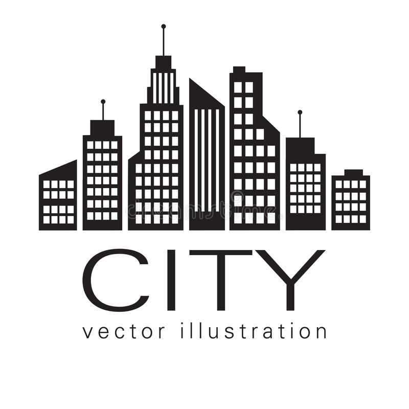 Miasto logo, wektorowa budynek sieci ikona ilustracji