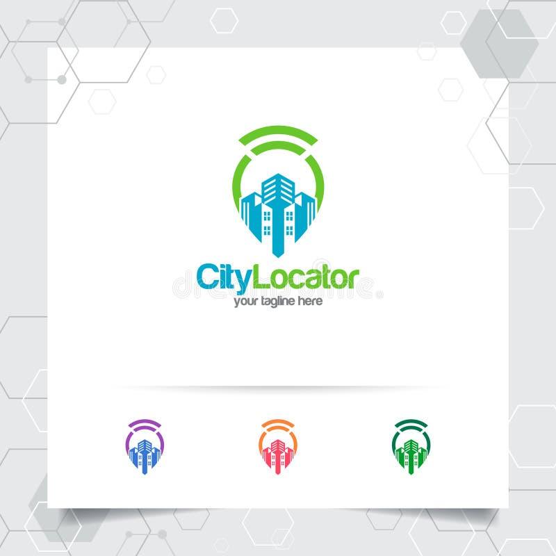 Miasto lokalizuje logo wektor i, podróży, lokalnego przewdonika, gps i wycieczki turysycznej wałkowy mapy wifi, locator pejzażu m royalty ilustracja