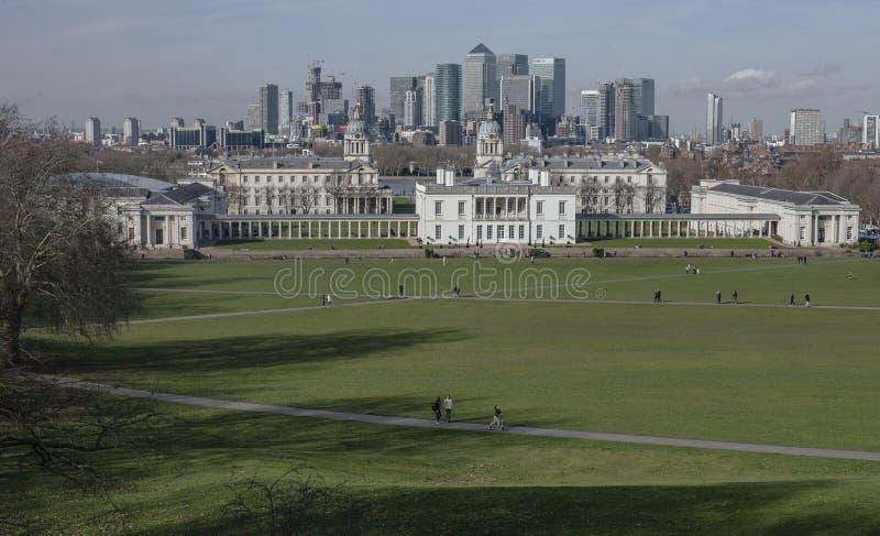 Miasto Londyn - widok od Greenwich parka, Luty 2018 obraz stock
