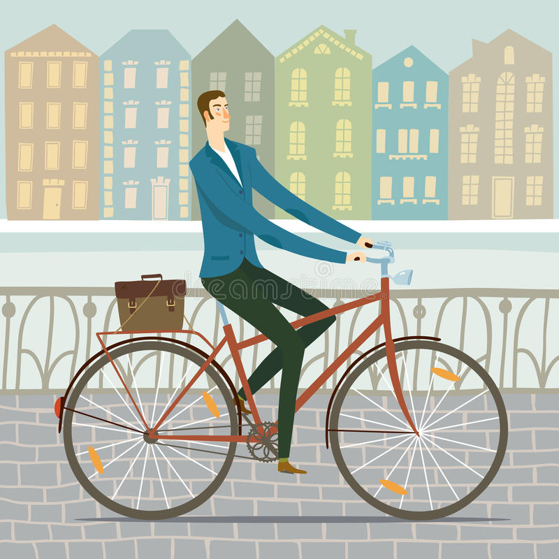 Miasto mężczyzna cyklisty ilustracja royalty ilustracja
