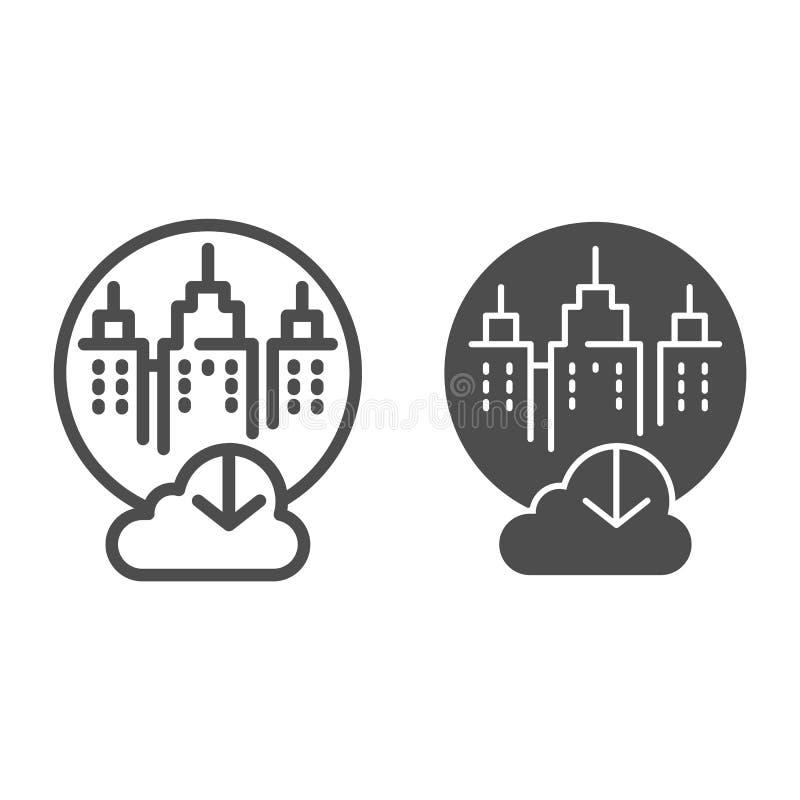 Miasto magazynu obłoczna linia i glif ikona Miasto dane magazynu wektorowa ilustracja odizolowywająca na bielu Bazy danych chmura ilustracja wektor