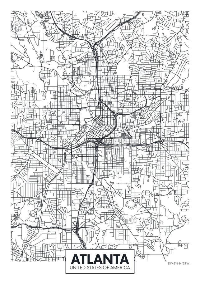 Miasto mapa Atlanta, podróż wektorowy plakatowy projekt royalty ilustracja