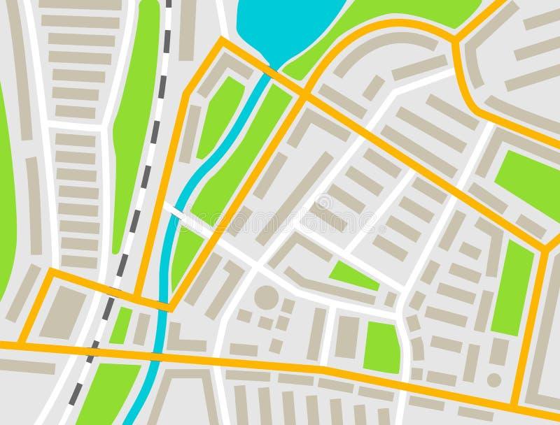 Miasto mapa barwił ilustrację dla nawigacja programa app lub wiszącej ozdoby Miasto układu mapy wektoru ilustracja ilustracja wektor