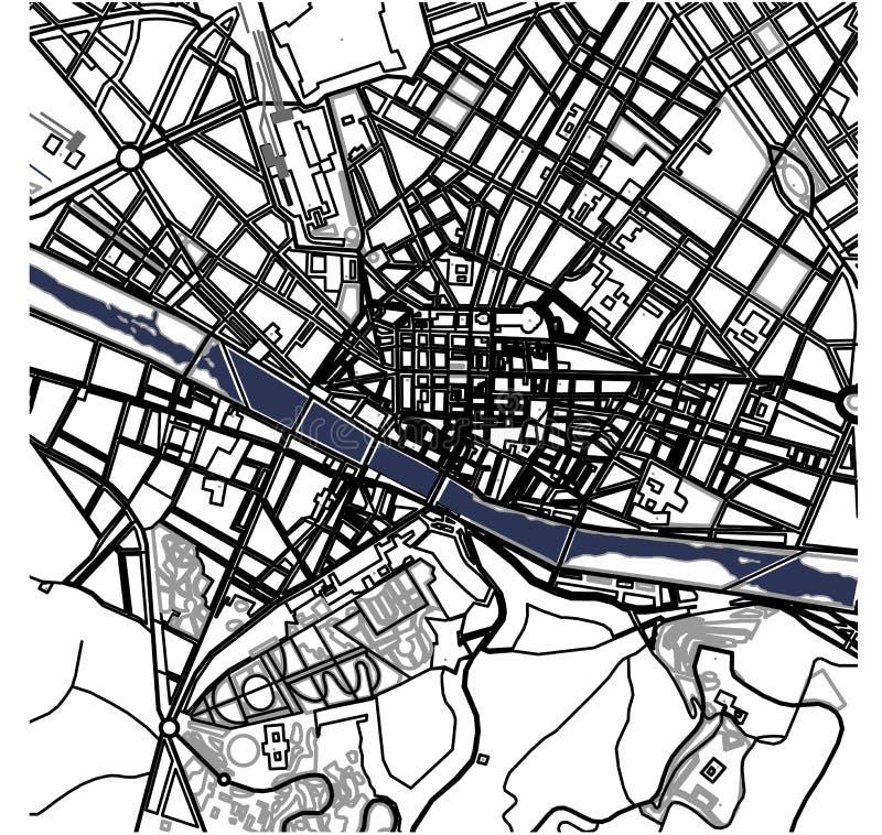 Miasto mapa Florencja, Włochy ilustracji