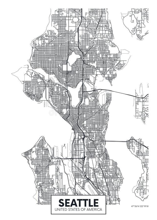 Miasto mapa Seattle, podróż wektorowy plakatowy projekt ilustracja wektor