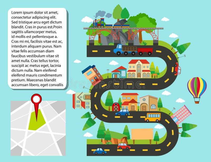 Miasto mapa z budynkami i drogami ilustracji