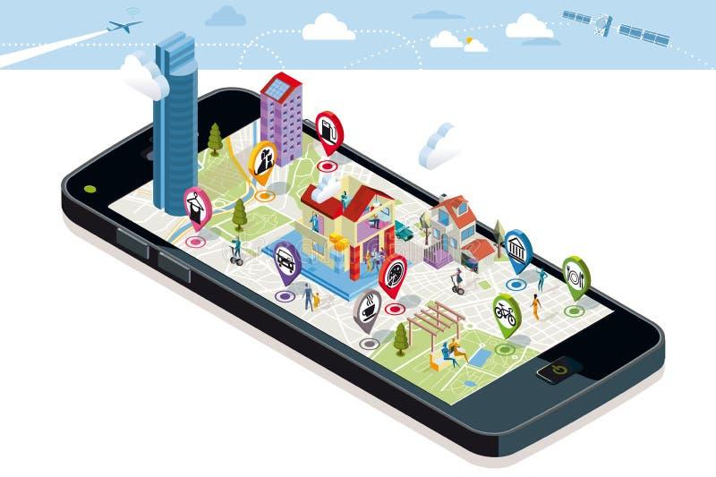 Miasto mapa z ikonami i budynkami ilustracji