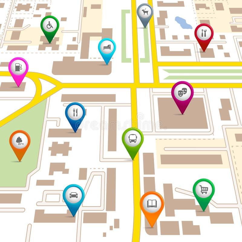 Miasto mapa z wałkowymi pointerami ilustracja wektor