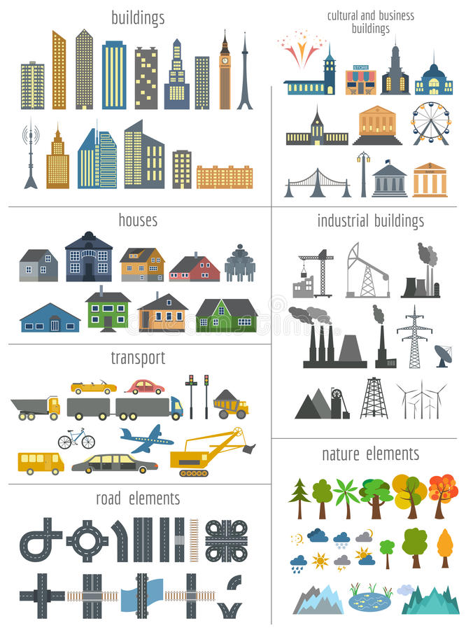 Miasto mapy generator Elementy dla tworzyć twój perfect miasto col