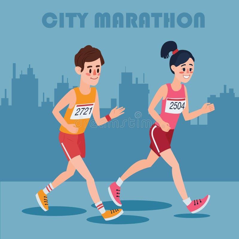 Miasto Maratońscy biegacze Mężczyzna i kobiety bieg Przez miasteczka ilustracji