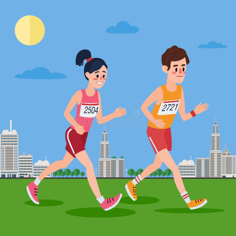 Miasto Maratońscy biegacze Mężczyzna i kobiety bieg Przez miasteczka ilustracja wektor