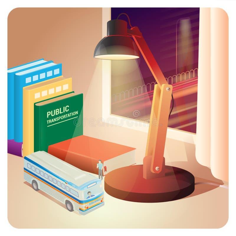 Miasto miniaturowa ilustracja z autobusem, biurko lampą i książkami, royalty ilustracja