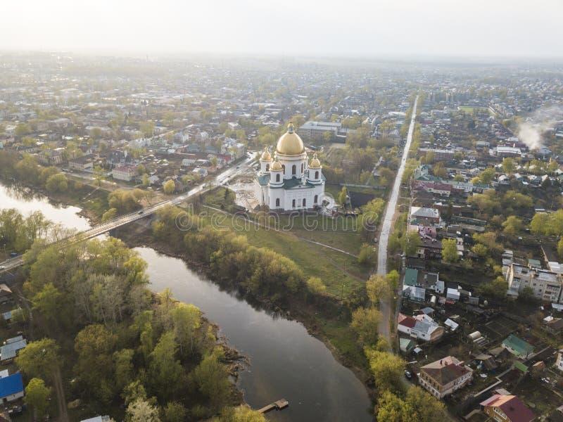 Miasto Morshansk Wiosny widok z lotu ptaka Rosja Tr?jcy katedra Rzeczny Tsna fotografia royalty free