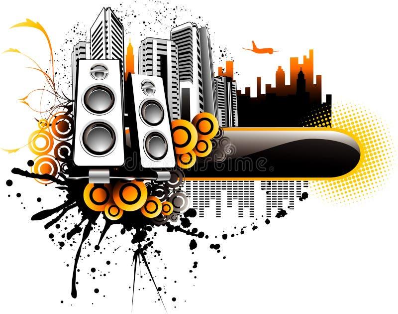 miasto muzyka ilustracyjny wektora ilustracji