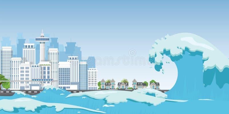 Miasto na seashore niszczącym tsunami falami ilustracji