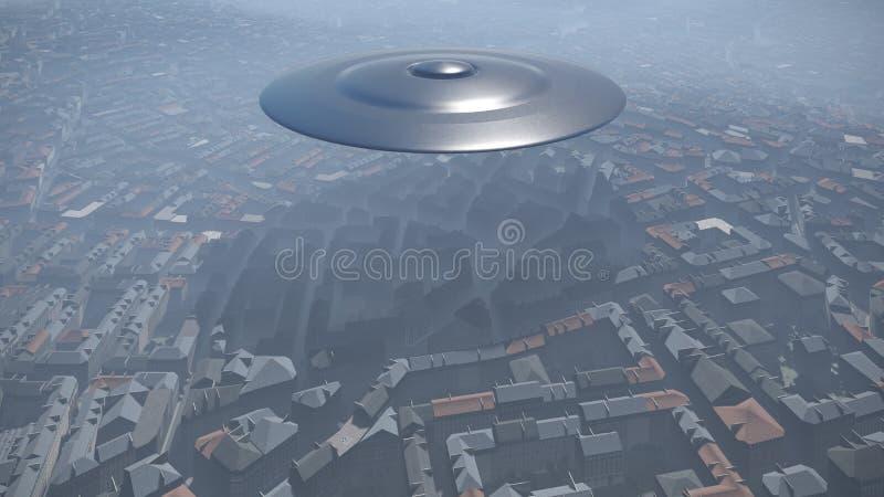 miasto nad ufo ilustracja wektor