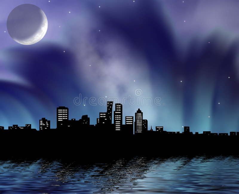 miasto nocą royalty ilustracja