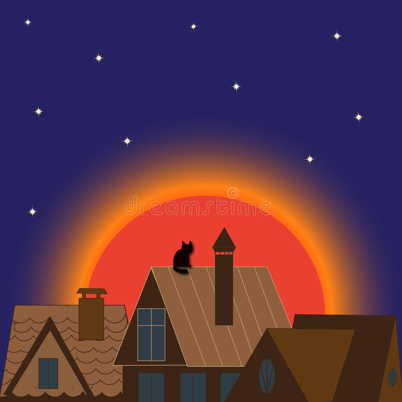 Miasto nocy budynku księżyc architektury zmierzch wieczór ilustracji