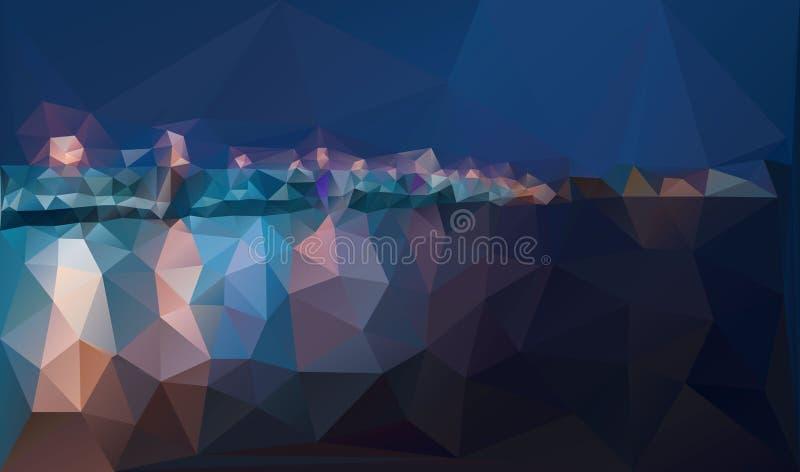 Miasto nocy panorama z lampą zaświeca wektorowego tło ilustracji