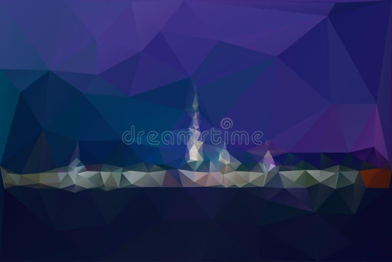 Miasto nocy panorama z lampą zaświeca wektorowego tło royalty ilustracja
