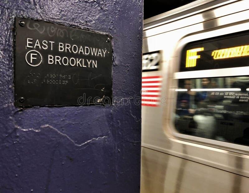 Miasto Nowy Jork Broadway MTA metra lower east side NYC Brooklyn Wschodni znak zdjęcia stock