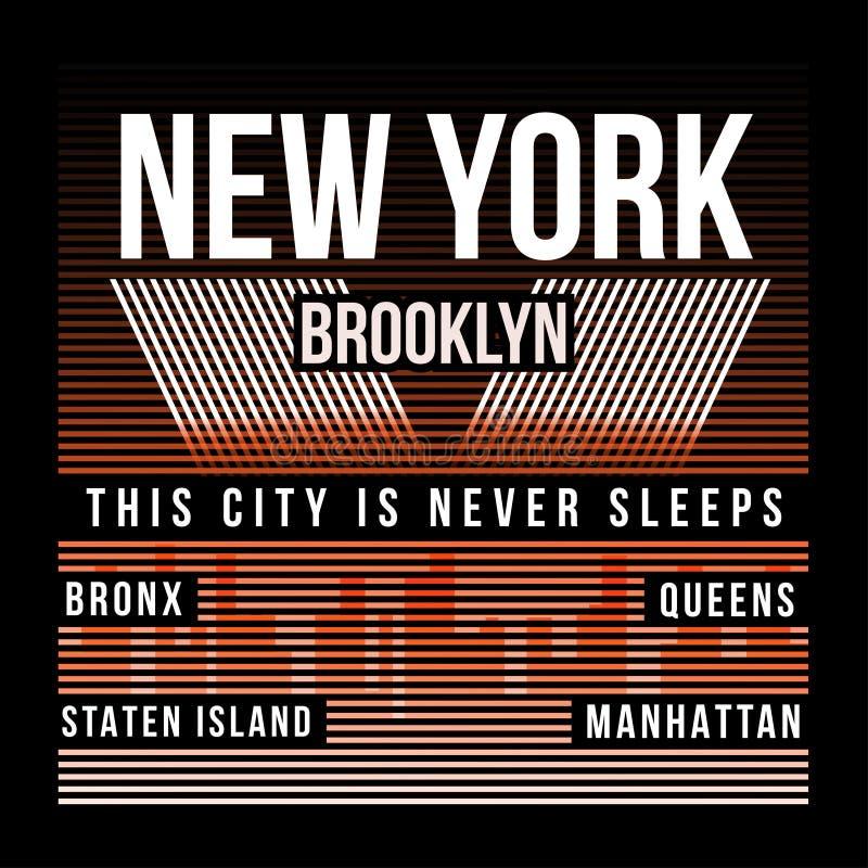 Miasto Nowy Jork, Brooklyn typografia dla koszulka druku Sylwetka miasto Koszulek grafika ilustracja wektor
