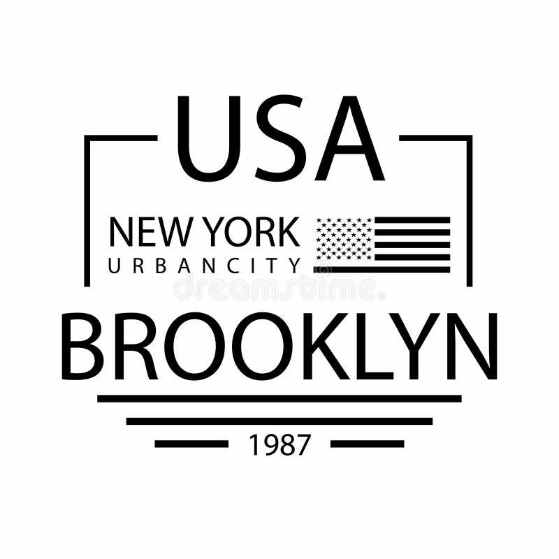Miasto Nowy Jork, Brooklyn typografia dla koszulka druku usa bandery Koszulek grafika royalty ilustracja