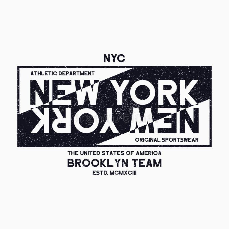 Miasto Nowy Jork, Brooklyn typografii grafika dla koszulki Grunge druk dla NYC sportowej odzieży Oryginalny ulicznych ubrań proje ilustracji