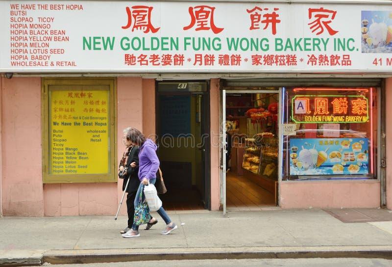 Miasto Nowy Jork Bryant Parkowa Sławna piekarnia w Miasto Nowy Jork Chinatown sprzedawania Mooncakes i Tradycyjnym PastriesGames  obrazy stock