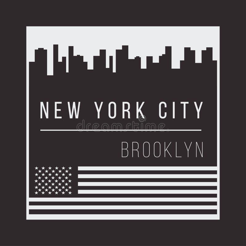 Miasto Nowy Jork dla koszulka druku Nowy Jork linii horyzontu sylwetka Koszulek grafika ilustracja wektor