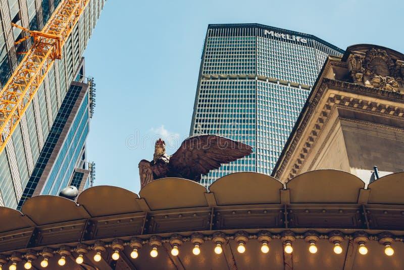 Miasto Nowy Jork Grand Central Śmiertelnie, Wejściowa wschodu 42nd ulica przy Vanderbilt aleją, środek miasta Manhattan zdjęcia stock