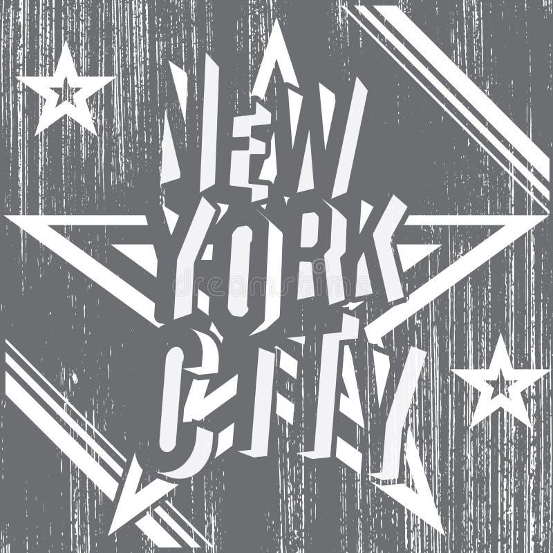 Miasto Nowy Jork grunge typografii plakat, koszulka druku projekt, wektorowej odznaki Aplikacyjna etykietka royalty ilustracja