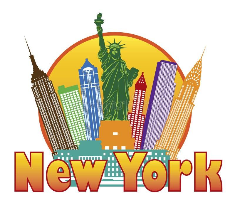 Miasto Nowy Jork Kolorowa linia horyzontu w okręgu wektorze Il ilustracji