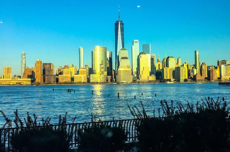 Miasto Nowy Jork linia horyzontu i hudson fotografia royalty free