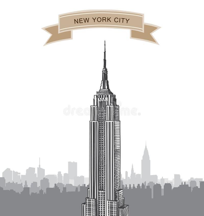 Miasto Nowy Jork linia horyzontu. Wektorowy usa krajobraz. Ręka rysujący nakreślenia tło royalty ilustracja
