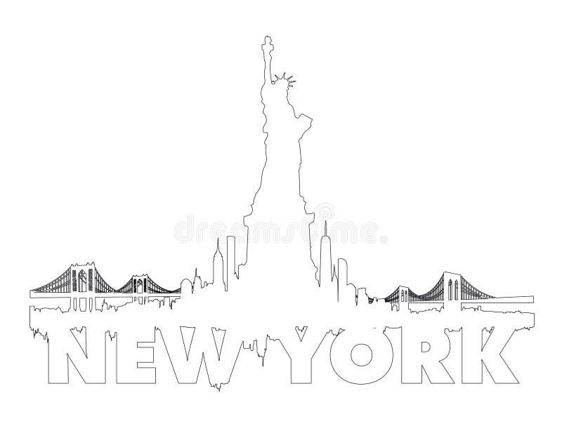 Miasto Nowy Jork linii horyzontu konturu wektor fotografia stock