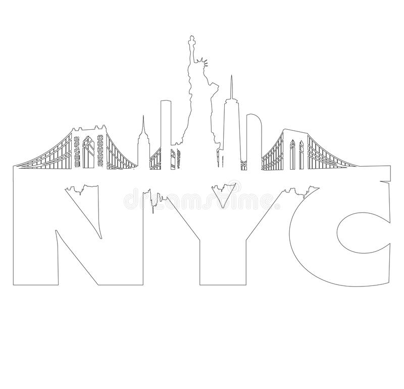 Miasto Nowy Jork linii horyzontu konturu wektor obrazy royalty free