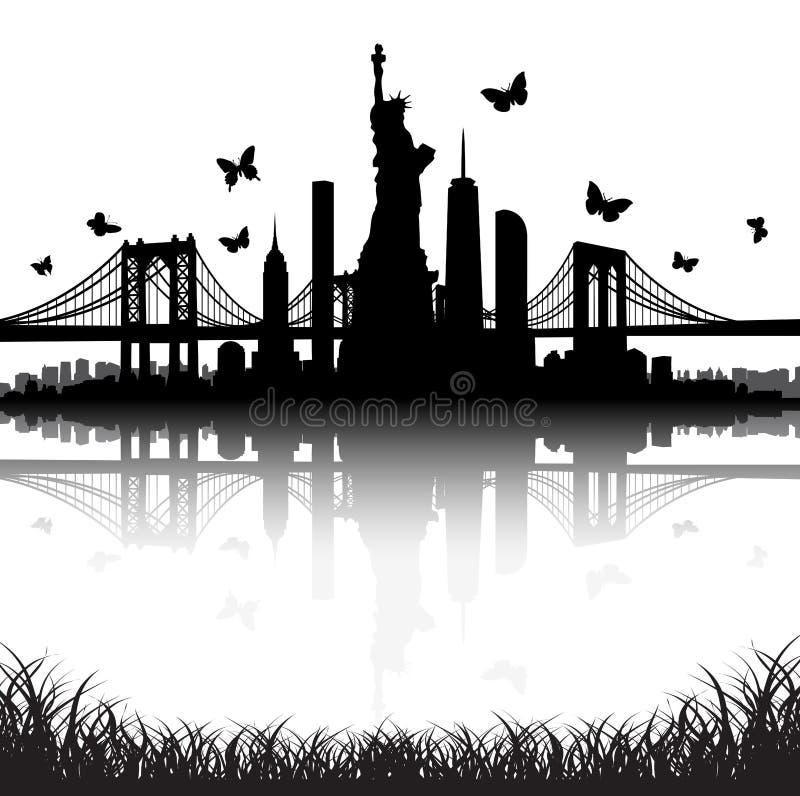 Miasto Nowy Jork linii horyzontu statuy wolności motyla wektor zdjęcia stock