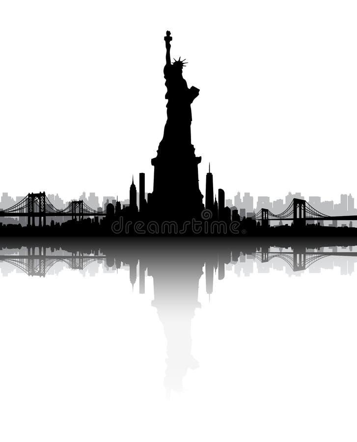 Miasto Nowy Jork linii horyzontu statuy wolności wektor obraz royalty free