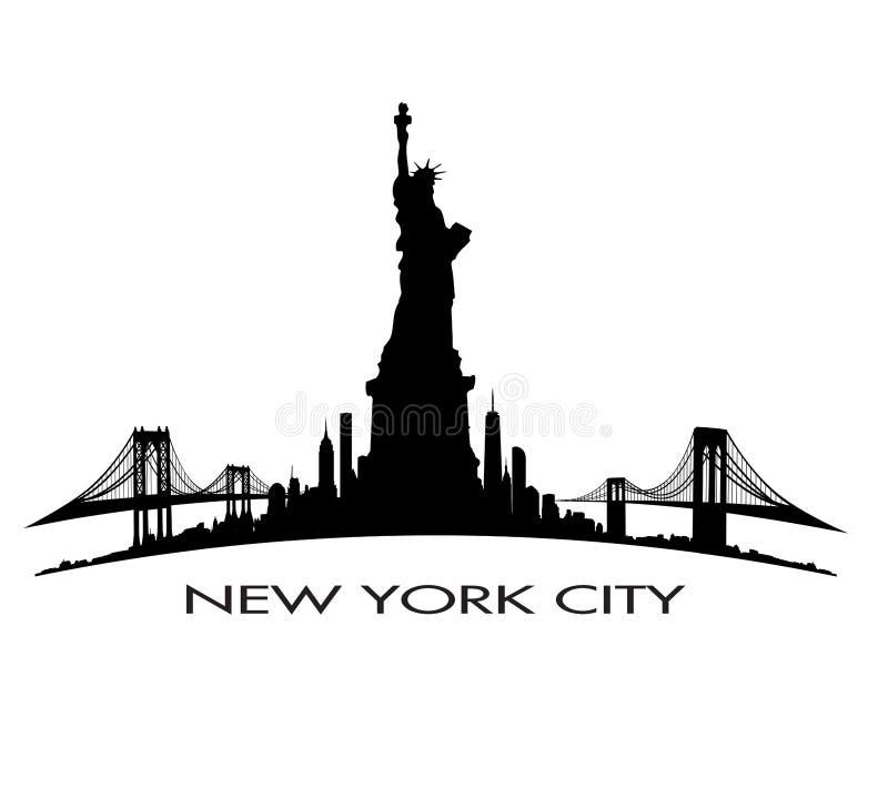 Miasto Nowy Jork linii horyzontu statuy wolności wektor zdjęcia royalty free