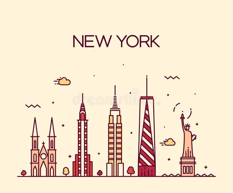 Miasto Nowy Jork linii horyzontu sylwetki kreskowej sztuki styl royalty ilustracja