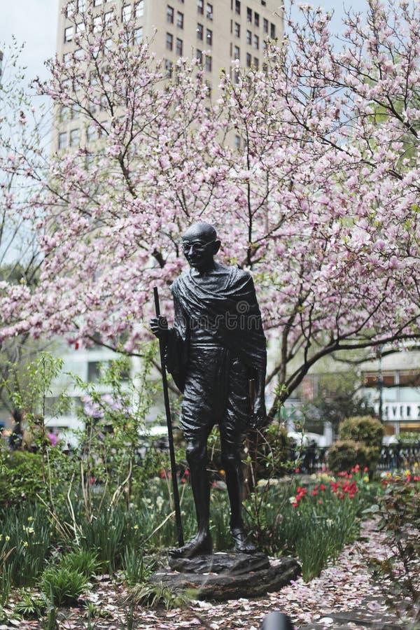 MIASTO NOWY JORK Mahatma Gandhi statua w zjednoczenie kwadracie obrazy stock