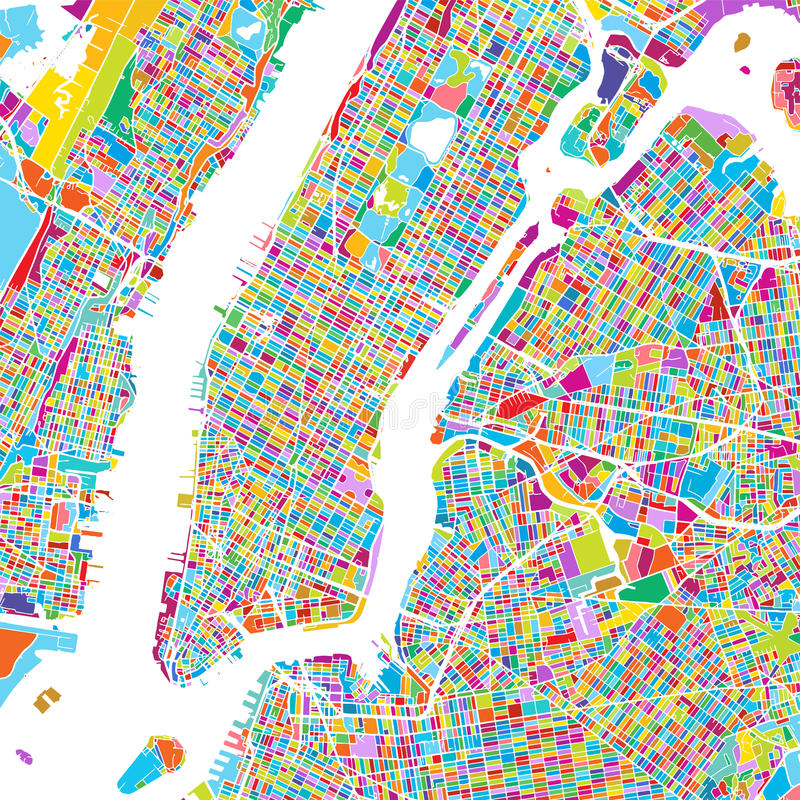 Miasto Nowy Jork Manhattan Kolorowa mapa royalty ilustracja
