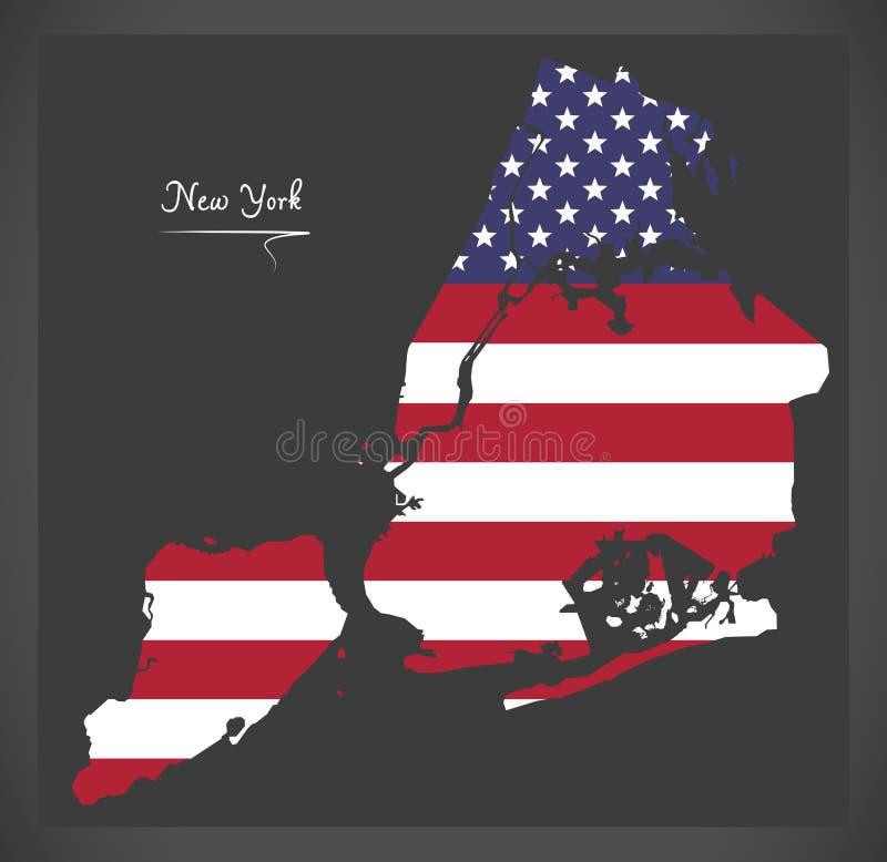 Miasto Nowy Jork mapa z Amerykańską flaga państowowa ilustracją ilustracji