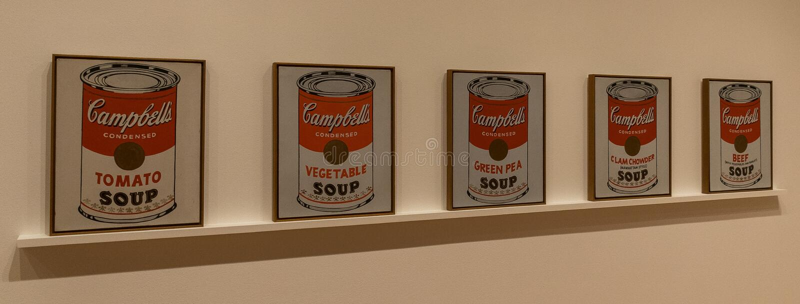 Miasto Nowy Jork MOMA - Andy Warhol, Campbell Zupne puszki zdjęcie stock