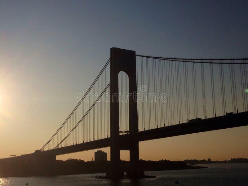 Miasto Nowy Jork mosta wschodu słońca architektura zdjęcie stock